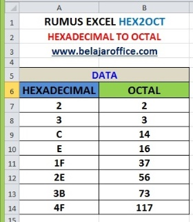 RUMUS EXCEL HEX2OCT