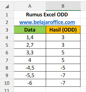 Rumus Excel ODD