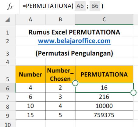 Rumus Excel PERMUTATIONA