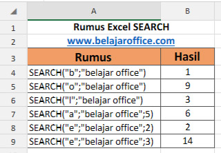 Rumus Excel SEARCH