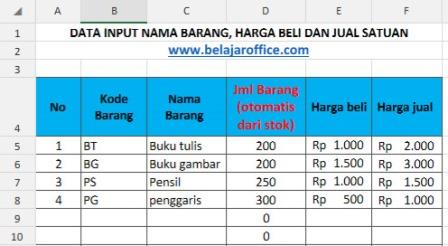 sheet input data barang