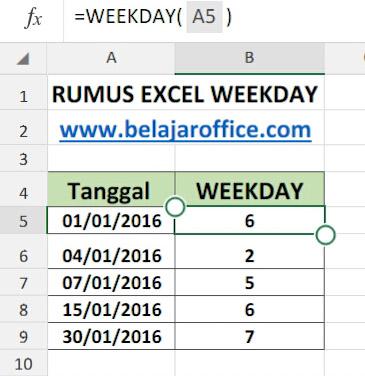RUMUS EXCEL WEEKDAY
