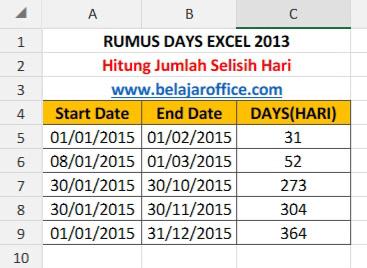 Rumus DAYS Excel 2013