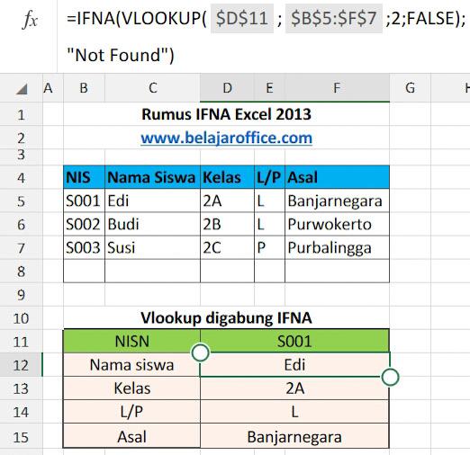 Rumus Excel IFNA