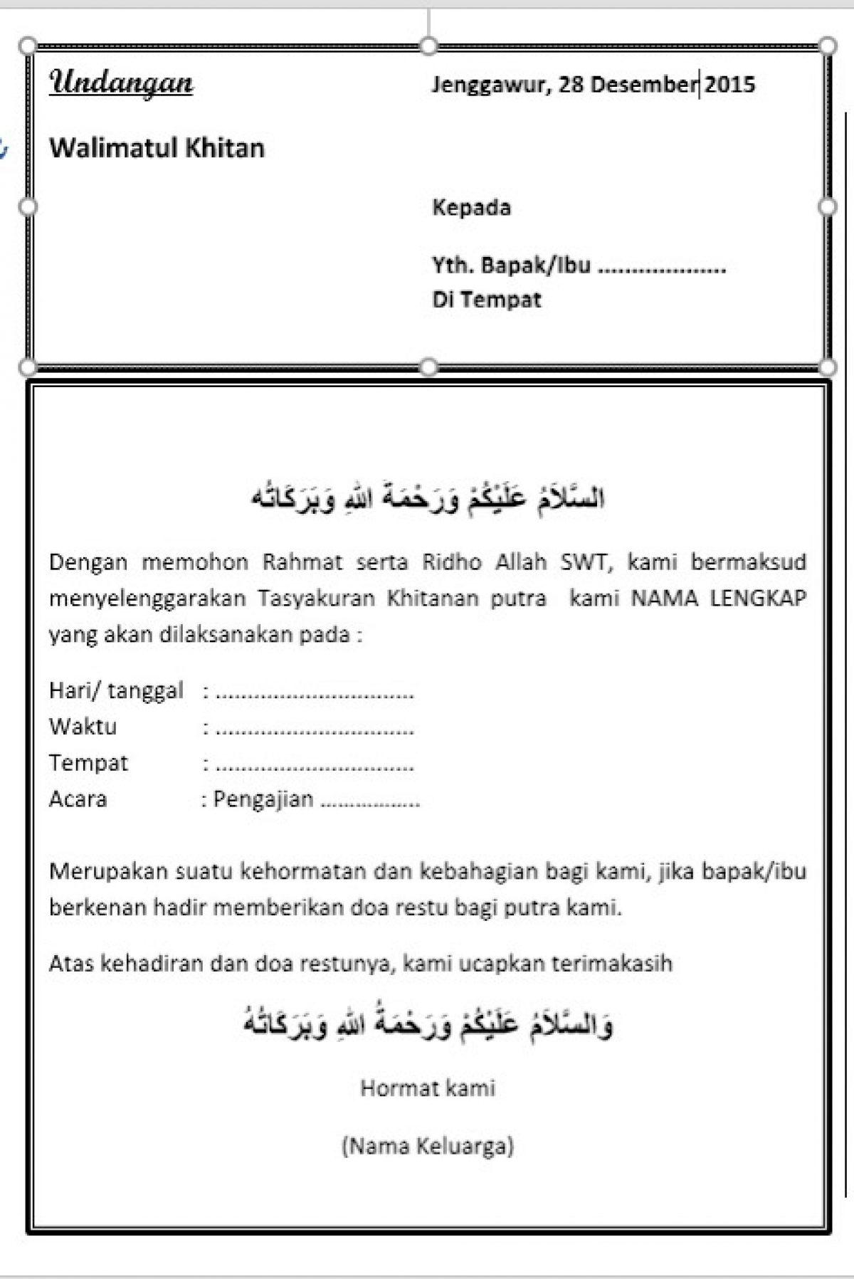 Contoh Surat Undangan Walimatul Khitan Belajar Office
