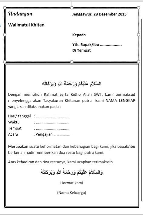 Contoh Surat Undangan Walimatul Khitan