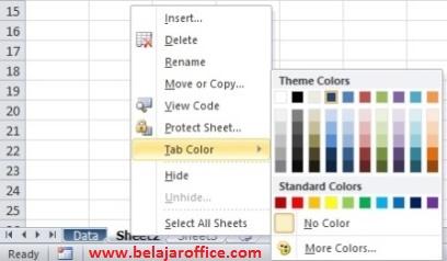 Mewarnai Sheet Excel