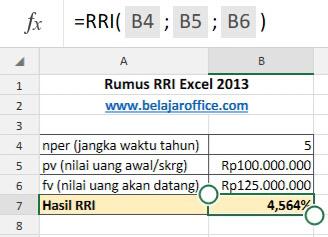 Rumus RRI Excel 2013
