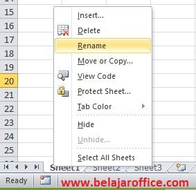 Sheet Pada Excel