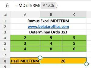Determinan Matriks Ordo 3x3 Excel