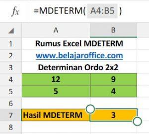 Determinan Matriks ordo 2x2 Excel