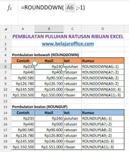 Pembulatan Puluhan Ratusan Ribuan Pada Excel