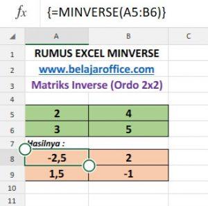 Rumus Excel MINVERSE