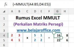 Rumus Excel MMULT Matriks Persegi