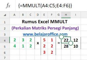 Rumus Excel MMULT Matriks Persegi Panjang