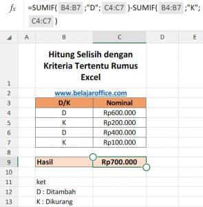Hitung Selisih Data Excel Dengan Kriteria Tertentu
