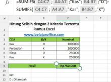 Selisih Data Excel Dua Kriteria