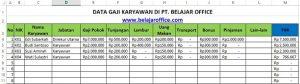Sheet Data Karyawan