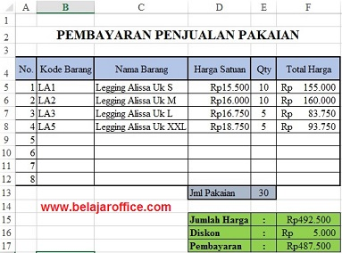 Latihan Soal Rumus Excel Format Pembayaran