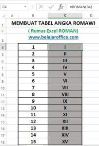 Membuat tabel romawi rumus excel roman