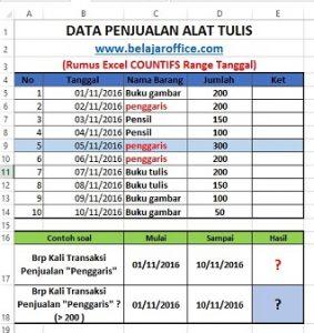 Rumus Excel COUNTIFS Range Tanggal