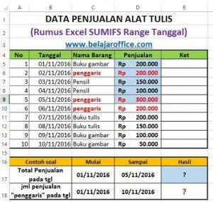 Rumus Excel SUMIFS Dengan Range Tanggal