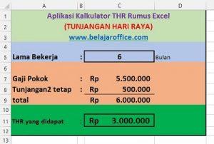 Aplikasi Kalkulator THR Rumus Excel
