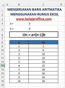 Mengerjakan Baris Aritmatika Menggunakan Rumus Excel