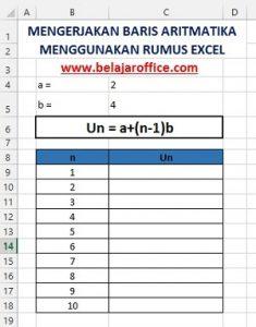Soal Baris Aritmatika Menggunakan Excel