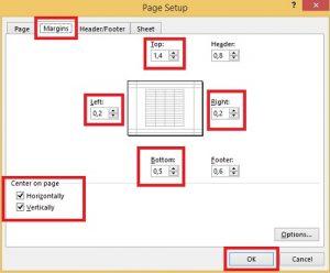 page setup margin