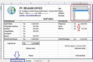 Menu Drop Down List Data Validation