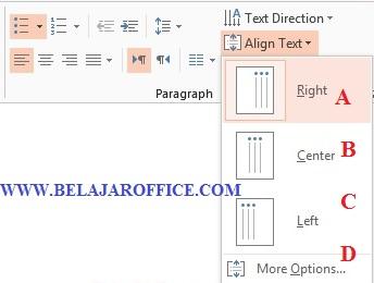 Mengatur Perataan Teks Align Text Pada PowerPoint