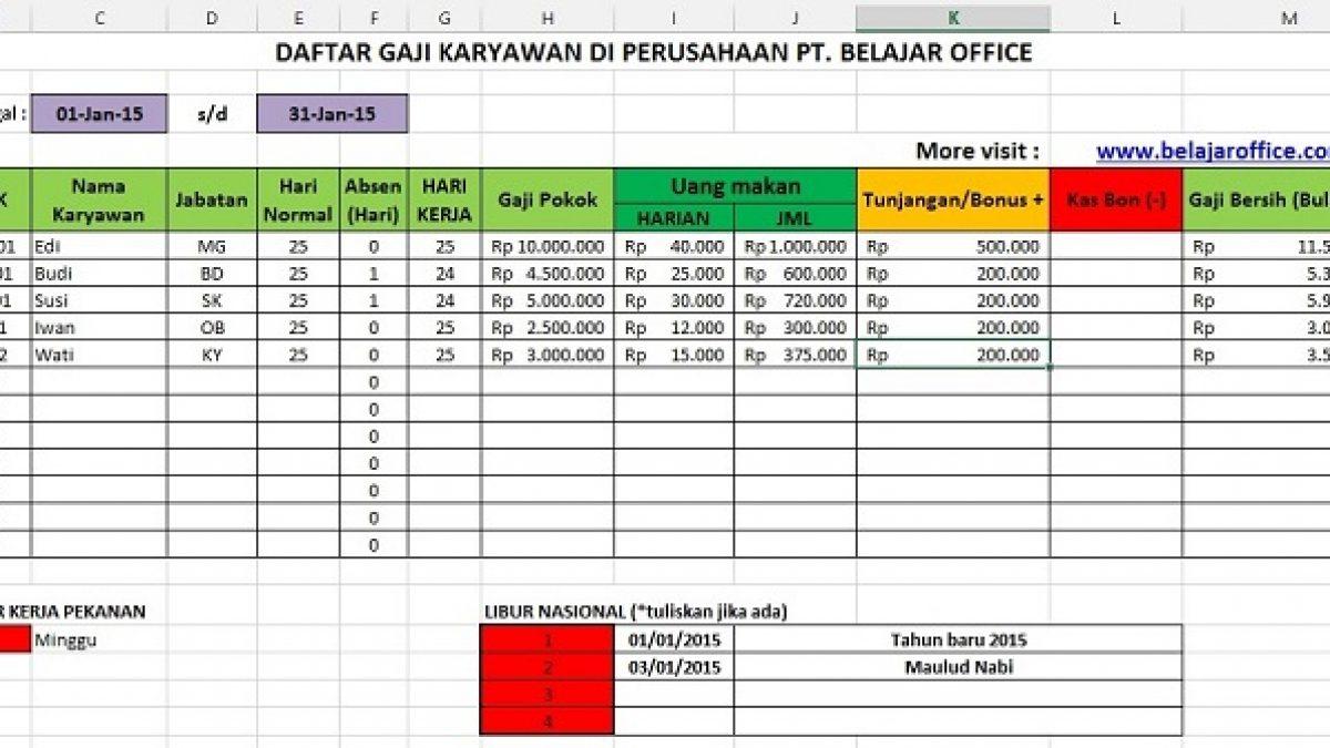 Format Excel Hitung Gaji Pokok Karyawan Ditambah Uang Makan Harian Belajar Office