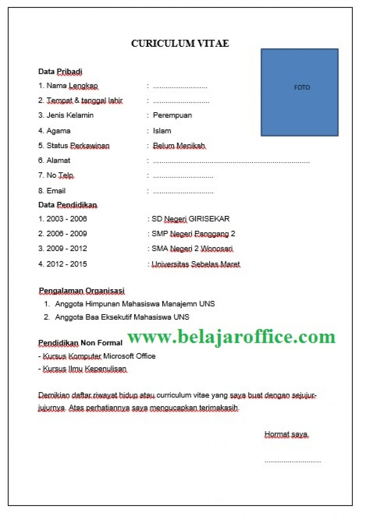 Contoh Penulisan Cv Curiculum Vitae Untuk Fress Graduate Belajar Office