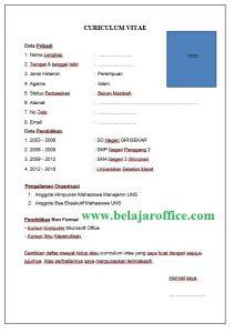 Contoh Penulisan CV (Curiculum Vitae) untuk Fress Graduate