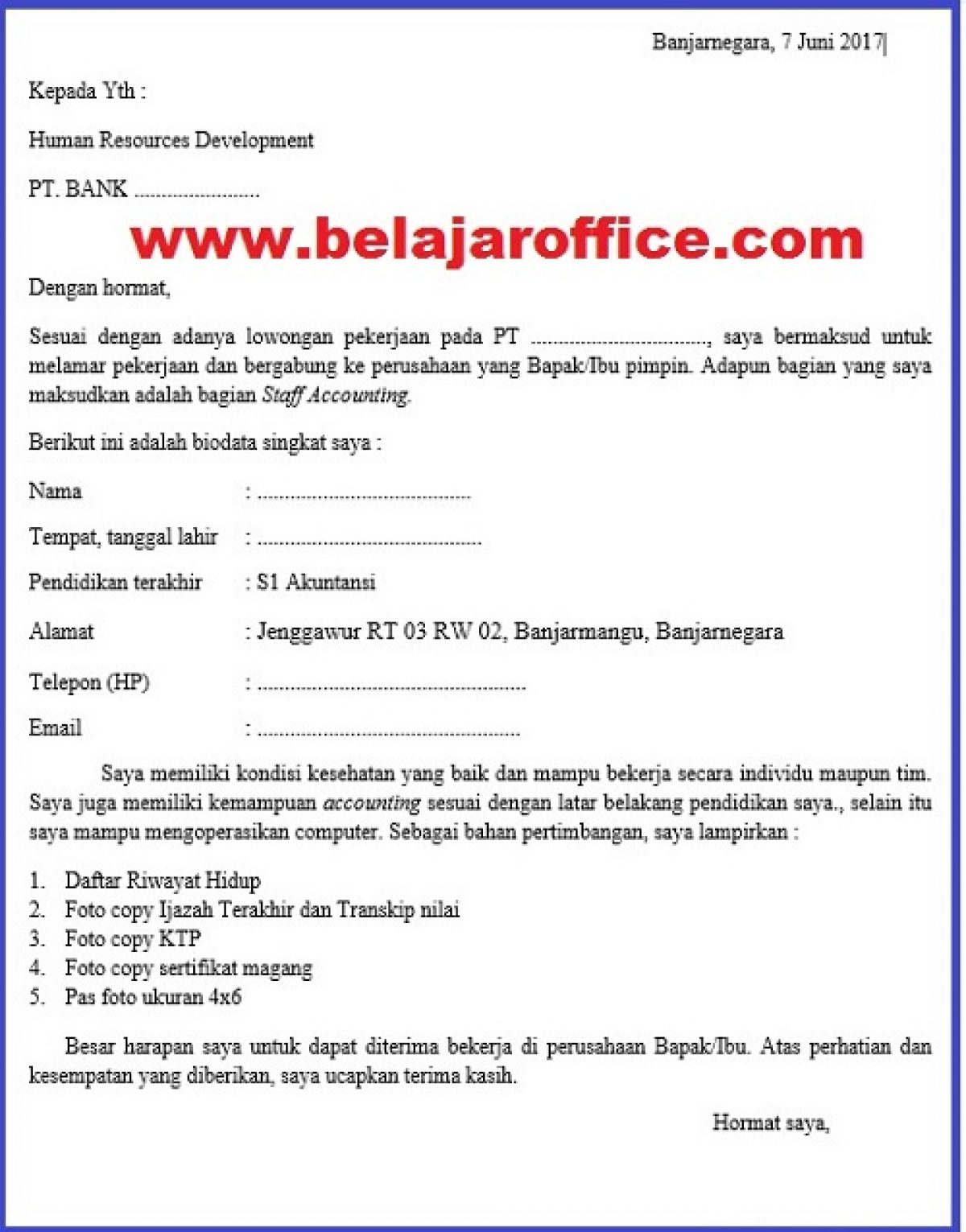 Contoh Surat Lamaran Kerja Di Bank Belajar Office
