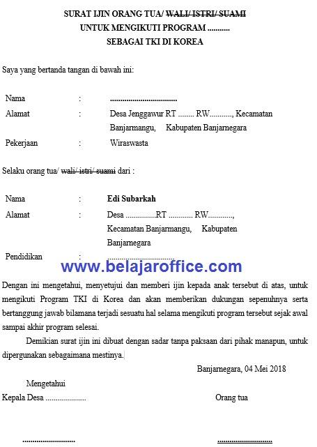 Contoh Surat Izin Orang Tua Untuk Bekerja Di Luar Negeri