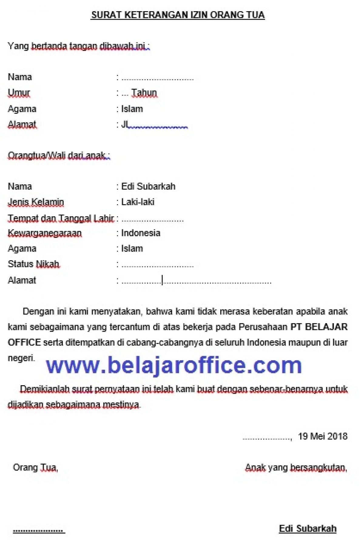 Contoh Surat Izin Orang Tua Untuk Bekerja Di Perusahaan Belajar Office