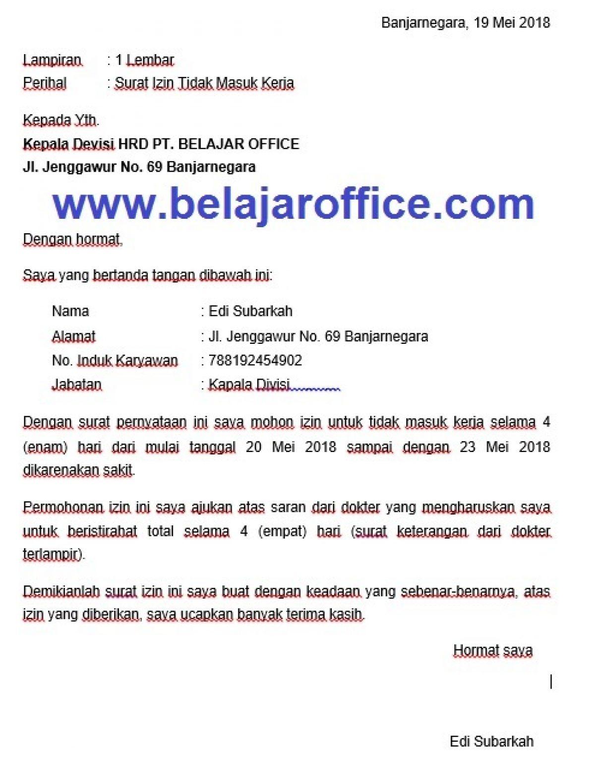 Contoh Surat Izin Tidak Masuk Kerja | Belajar Office