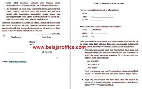 Contoh Surat Jual Beli Rumah Yang Baik Dan Benar Belajar Office