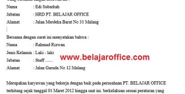 Contoh Surat Keterangan Kerja di Perusahaan