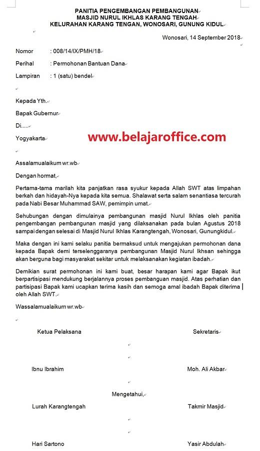 Contoh Surat Permohonan Dana Untuk Pembangunan Masjid