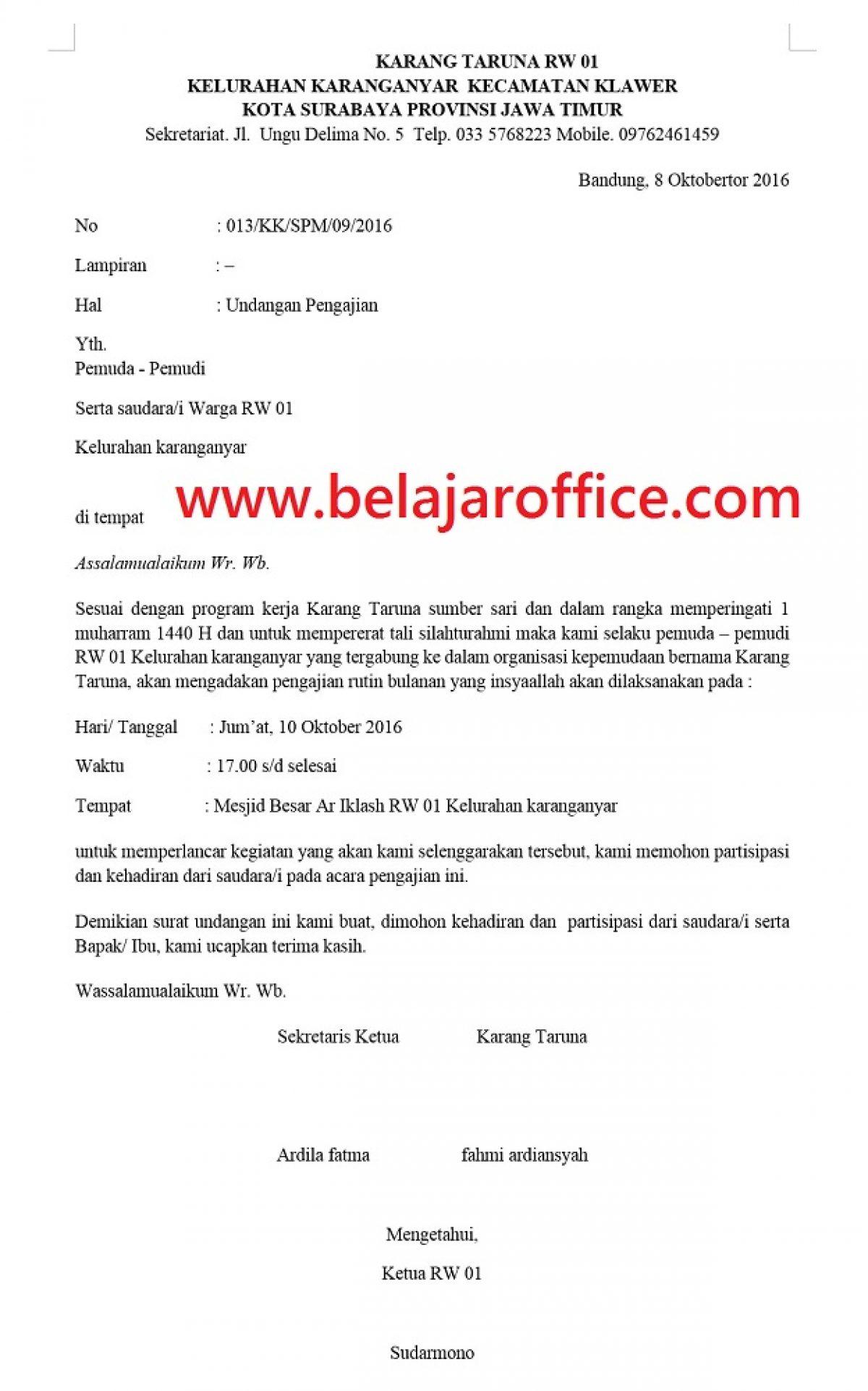 Contoh Surat Undangan Pengajian Rutin Belajar Office