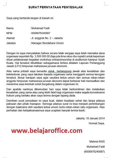 Contoh Surat Pernyataan Penyesalan