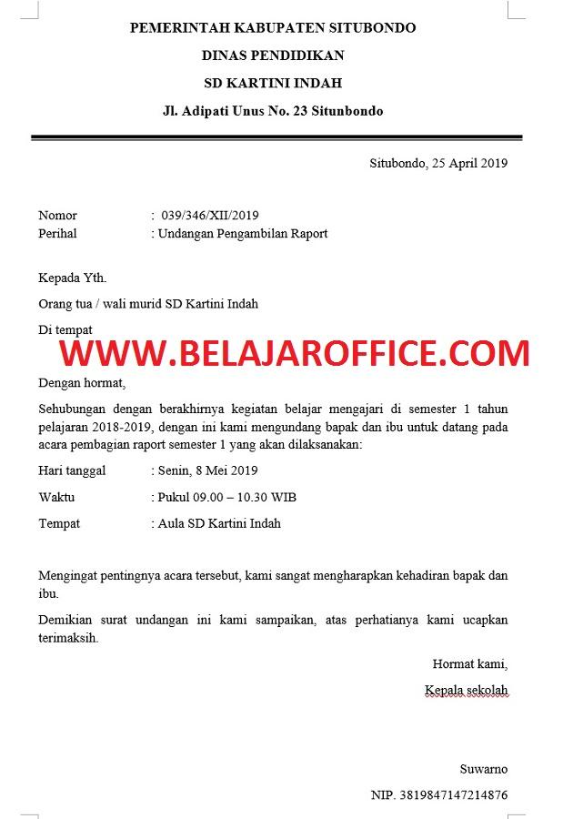 Contoh Surat Undangan Pengambilan Raport Untuk Wali Murid