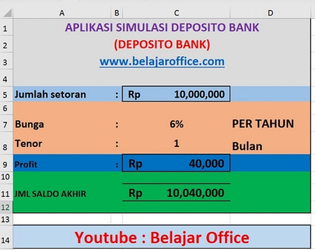 Membuat Simulasi Hitung Deposito Bank Rumus Excel Belajar Office