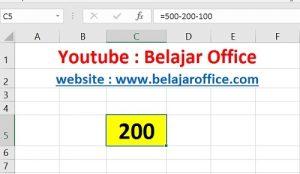 Cara 1 Pengurangan Excel
