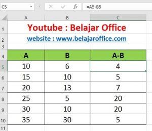 Cara 4 Pengurangan Excel