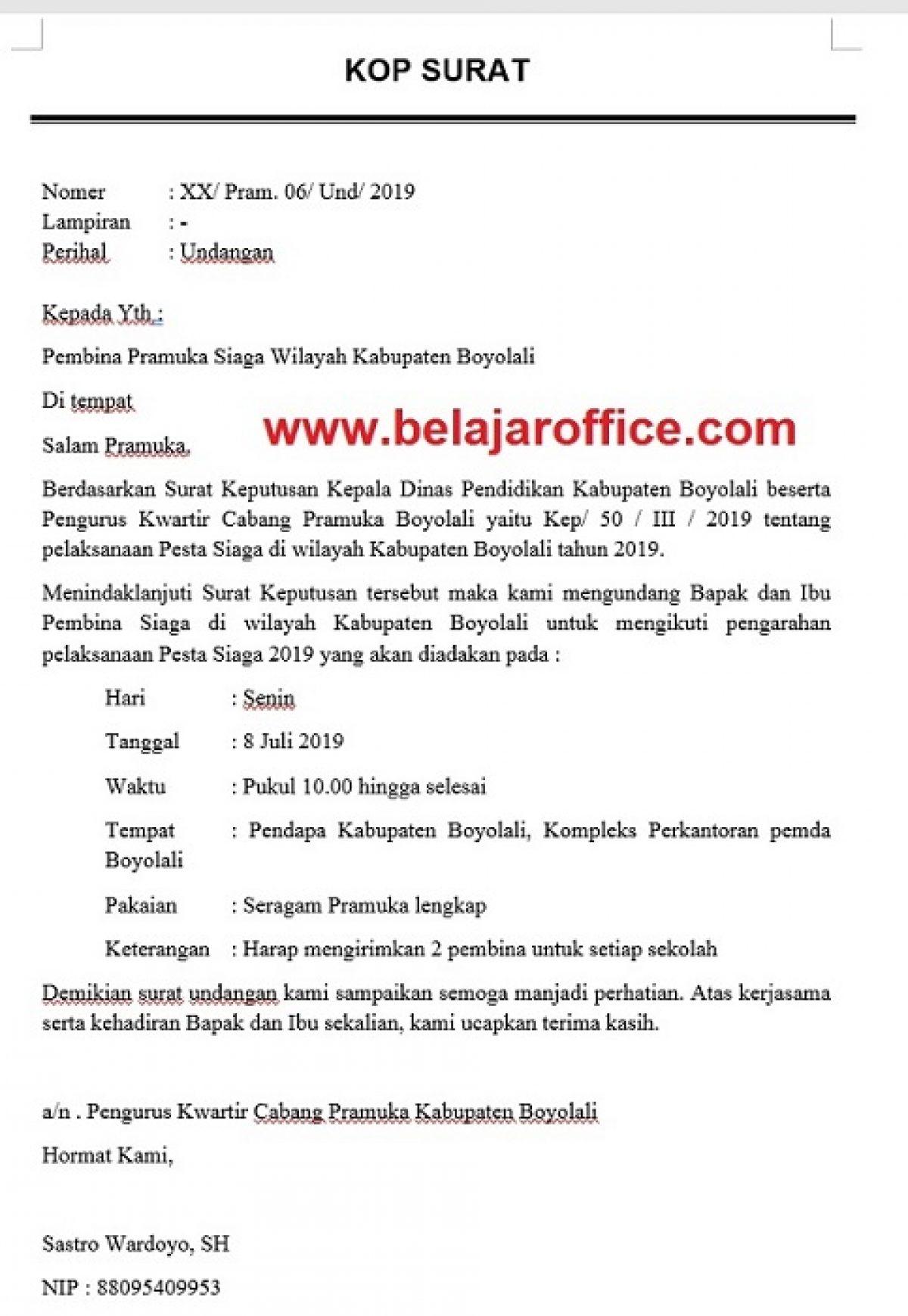 Contoh Surat Undangan Resmi Organisasi Pramuka Belajar Office