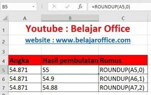 Rumus Pembulatan Excel ROUNDUP